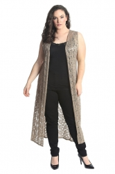 PRE ORDER: Fabulous Long Sleeveless Cardi- Mocha Floral Lace