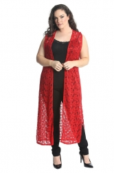 PRE ORDER: Fabulous Long Sleeveless Cardi- Red Floral Lace