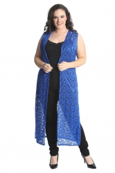 PRE ORDER: Fabulous Long Sleeveless Cardi- RoyalBlue Floral Lace