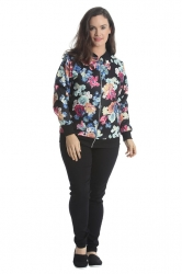 PRE ORDER: Cute Casual Plus Size Bomber Jacket - Black Floral