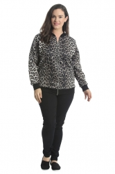 PRE ORDER: Cute Casual Plus Size Bomber Jacket - Leopard Print