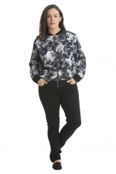 PRE ORDER: Cute Casual Plus Size Bomber Jacket - Grey Floral