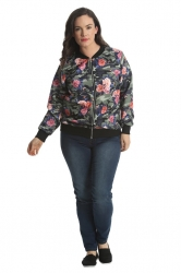PRE ORDER: Cute Casual Plus Size Bomber Jacket - Camo Floral
