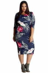 PRE ORDER: Pretty Printed Midi Bodycon Dress - Blue Floral