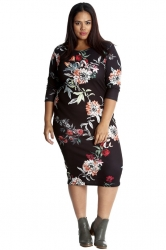 PRE ORDER: Pretty Printed Midi Bodycon Dress - Black Floral