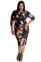 PRE ORDER: Pretty Printed Midi Bodycon Dress - Night Garden