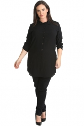 PRE ORDER: Essential Crepe Plus Size Tab Sleeve Shirt - Black
