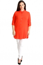 PRE ORDER: Essential Crepe Plus Size Tab Sleeve Shirt - Orange