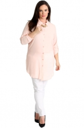 PRE ORDER: Essential Crepe Plus Size Tab Sleeve Shirt -Baby Pink