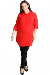PRE ORDER: Essential Crepe Plus Size Tab Sleeve Shirt - Red