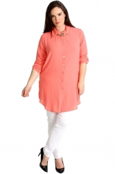 PRE ORDER: Essential Crepe Plus Size Tab Sleeve Shirt - Peach