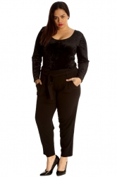 PRE ORDER: Chic Front Tie Straight Leg Trousers - Black