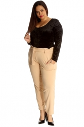 PRE ORDER: Chic Front Tie Straight Leg Trousers - Beige