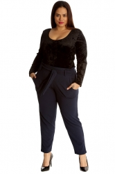 PRE ORDER: Chic Front Tie Straight Leg Trousers - Navy Blue