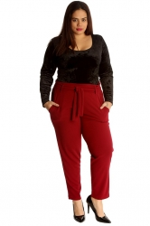 PRE ORDER: Chic Front Tie Straight Leg Trousers - Wine