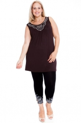 PRE ORDER: Stylish Studded Boho Chic Cami Tunic - Brown