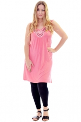 PRE ORDER: Stylish Studded Boho Chic Cami Tunic - Coral