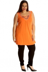 PRE ORDER: Stylish Studded Boho Chic Cami Tunic - Orange