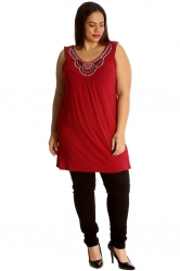 PRE ORDER: Stylish Studded Boho Chic Cami Tunic - Wine