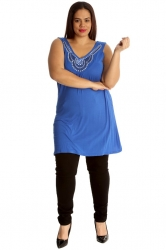 PRE ORDER: Stylish Studded Boho Chic Cami Tunic - Royal Blue