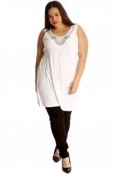 PRE ORDER: Stylish Studded Boho Chic Cami Tunic - White