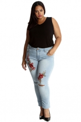PRE ORDER: Cute Floral Appliqué Ripped Jeans
