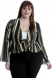 PRE ORDER: Stripes Print Frill Shrug - Yellow