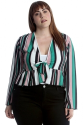 PRE ORDER: Stripes Print Frill Shrug - Teal