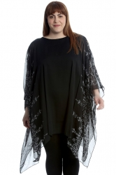 PRE ORDER: Chiffon Kaftan - Black Paisley Heart and Dove Print