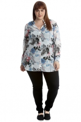 PRE ORDER: Tropical Print Band Collar Chiffon Shirt - Blue/Cream