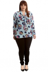 PRE ORDER: Gorgeous Collar Tie Floral Chiffon Top - Blue