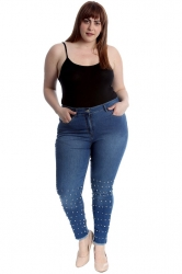 PRE ORDER: Cute Pearl Stitched Denim Jeans - Blue