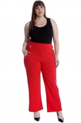 PRE ORDER: Lovely High Waist Trousers with Side Pockets - Red