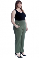 PRE ORDER: Lovely High Waist Trousers with Side Pockets - Khaki