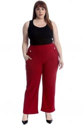 PRE ORDER: Lovely High Waist Trousers with Side Pockets - Wine