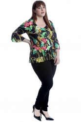 PRE ORDER: Cute Tropical Floral & Chain Peplum Top - Black