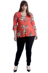 PRE ORDER: Cute Floral Peplum Top - Orange