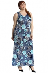 PRE ORDER: Gorgeous Floral and Swirl Maxi Dress - Blue