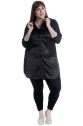 PRE ORDER: Adorable Satin Tab Sleeve Plus Size Shirt - Black