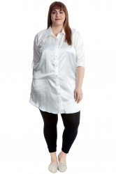 PRE ORDER: Adorable Satin Tab Sleeve Plus Size Shirt - Ivory