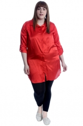 PRE ORDER: Adorable Satin Tab Sleeve Plus Size Shirt - Red