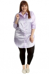 PRE ORDER: Adorable Satin Tab Sleeve Plus Size Shirt - Lilac