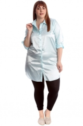 PRE ORDER: Adorable Satin Tab Sleeve Plus Size Shirt - Baby Blue