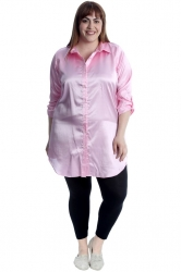 PRE ORDER: Adorable Satin Tab Sleeve Plus Size Shirt - Baby Pink