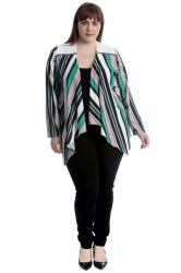 PRE ORDER: Cute Striped Crepe Waterfall Cardigan - White & Teal