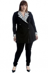 PRE ORDER: Lovely Tartan Detail Blazer - Black