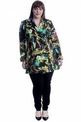 PRE ORDER: Lovely Bold Tropical Florals & Chain Blazer - Black