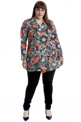PRE ORDER: Lovely Bold Monochrome Floral Blazer - Orange