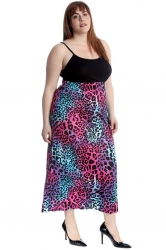 PRE ORDER: Classic Mid-Calf Skirt - Neon Leopard Print