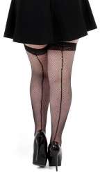 PRE ORDER: Fishnet Seamed Lace Top Hold-ups - Black